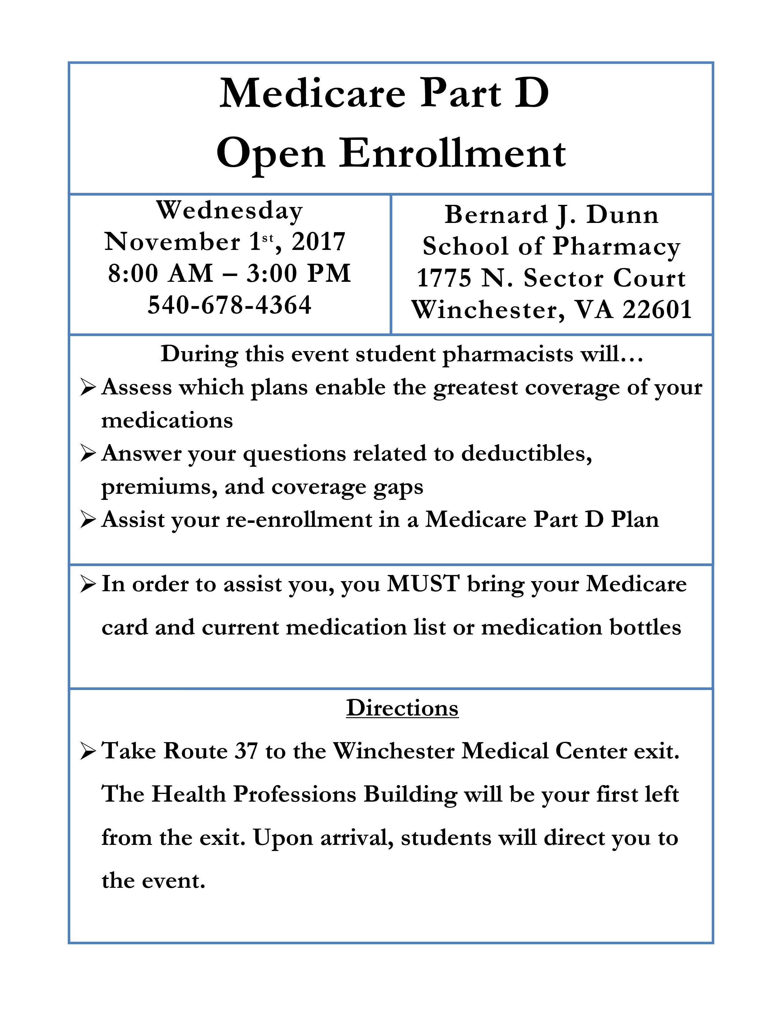Medicare Part D Open Enrollment Amherst Family Practice